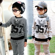 Child set 2016 autumn and winter girls boys sets fashion print child fleece sweatshirt + pants sport suit clothing set