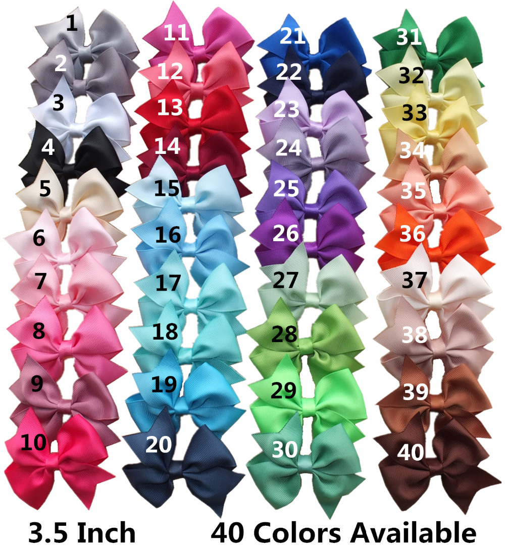 Free shipping! 20 stock colors of 3 inches grosgrain hairbows with Single Prong alligator clips hair bows wholesale