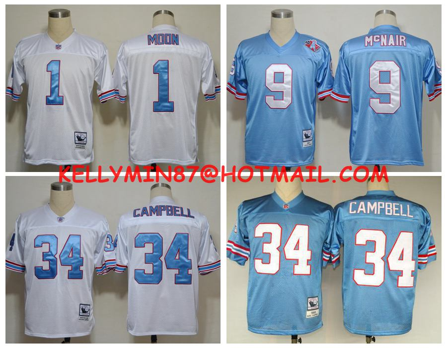 100% Stitiched,Houston Oilers,Robert McNair,Warren Moon,Throwback for men(China (Mainland))