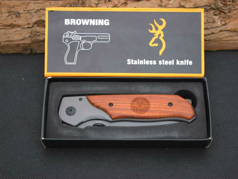 Buy BROWNING Folding Knife Survival Knifes 440C Steel Blade Wood Handle Pocket Hunting Tactical Knives Camping Outdoor EDC Tools X46 cheap