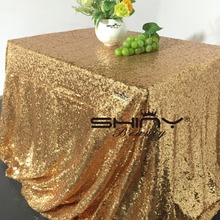 Hot 48inx72in Gold Sequin Tablecloth Rectangle Style For Wedding/Party/Banquet Wedding Table Cloth Decoration( Free SHIPPING)(China (Mainland))