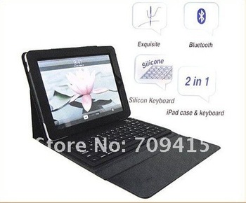 Free shiping! ! 2 in 1 Bluetooth Wireless Keyboard+ Folding Leather Protective Case for ipad2