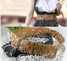 Hot Fashion 6 Colors Women's Lady Tie Belt Wide Hollow Buckle Waist band Waistband Waist Belt Cai0406(China (Mainland))