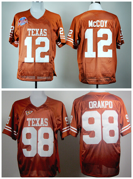 Texas Longhorns Brian Orakpo Jersey 98 American Football 12 Colt McCoy College Jerseys Home Orange Factory Directly Wholesales(China (Mainland))
