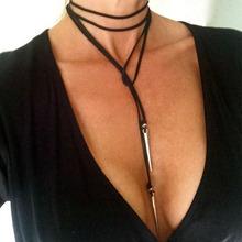 Buy 2016 Punk Rivet Long Black Velvet Choker Necklace Women Necklaces Chokers kolye Chocker collares mujer collier ras du cou for $1.12 in AliExpress store