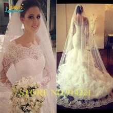 Buy Vestido De Novia Scoop Mermaid Wedding Dresses 2016 vintage lace long sleeve backless Chapel Train Bridal Gowns wedding gown for $227.85 in AliExpress store