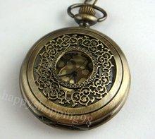 Wholesale men's Vintage Bronze Quartz Pocket Watch Necklace Big Size 45mm gold charm gift for mens jewelry watches necklaces