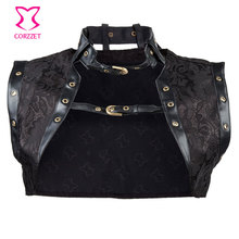 Black Brocade Leather Collar Steampunk Women Corset Jacket Sexy Gothic Clothing Burlesque Costumes Accessories Sleeveless Jacket