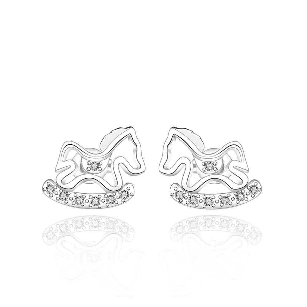 Free Shipping 2015 Lovely silver plated earrings for women Toy horse stud ear cuff oso(China (Mainland))