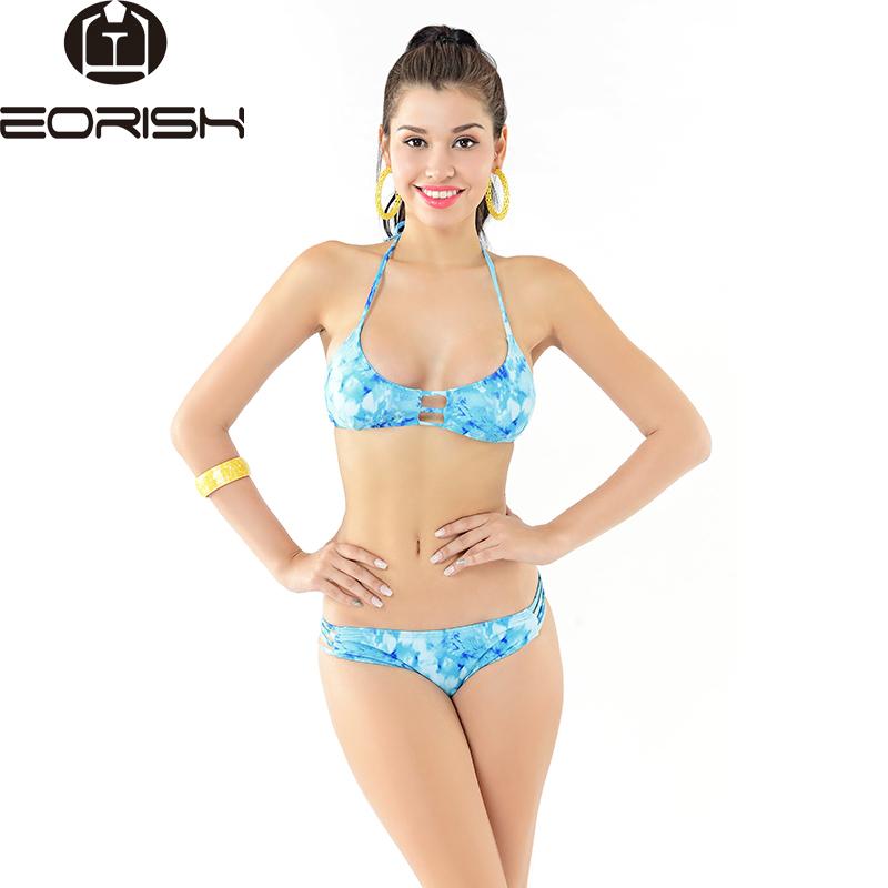 Bright Colored Bikini Hater Top Push Up Biquinis 2 Piece Bikini Swimsuit for Women Femme Swimwear Retro Bathing Suit Hollow Out(China (Mainland))