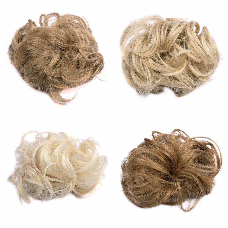 New Synthetic Elastic Hair Scrunchie Hair Piece Curl Bun Hair Chignon Toupee Clip Ponytail Bun Synthetic Toupee WQ541G(China (Mainland))