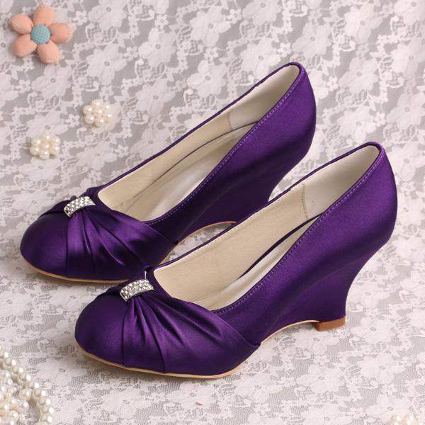 hot selling purple satin bridal wedding wedge shoes women