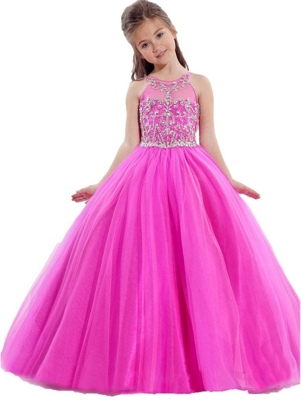 2015 Beautiful Coral Princess Flower Girls Dresses Jewel Beads Sash Floor-Length Girl's Pageant Dresses Kids Party Gowns(China (Mainland))