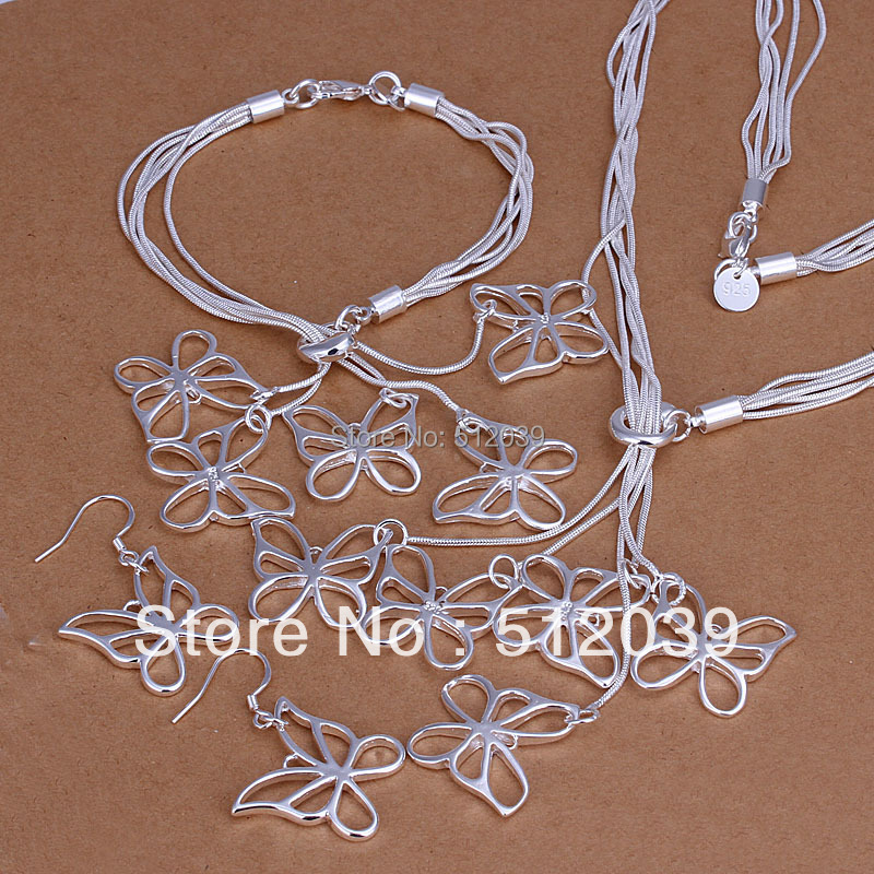 Tai Ci hang Five Butterflies Wholesale silver plated set fashion jewelry sets 3pcs Butterfly CLOVER1151F/S012(China (Mainland))