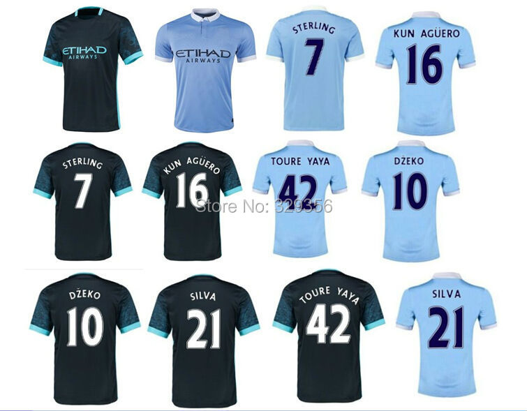 new top quality 2015 2016 15 16 Manchesters kun Aguero Sterling Soccer Jersey Football futbol camisas Shirt Custom Name number(China (Mainland))