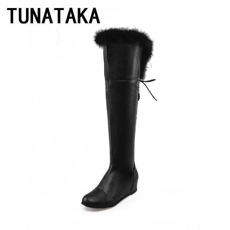 Back lace up riding boots increasing heel knee high women s winter