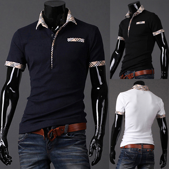 product 2014 New Casual Men's Slim Fit Stylish Short Sleeve Shirts for man black white red green dark blue yellow M/L/XL/XXL MTP027