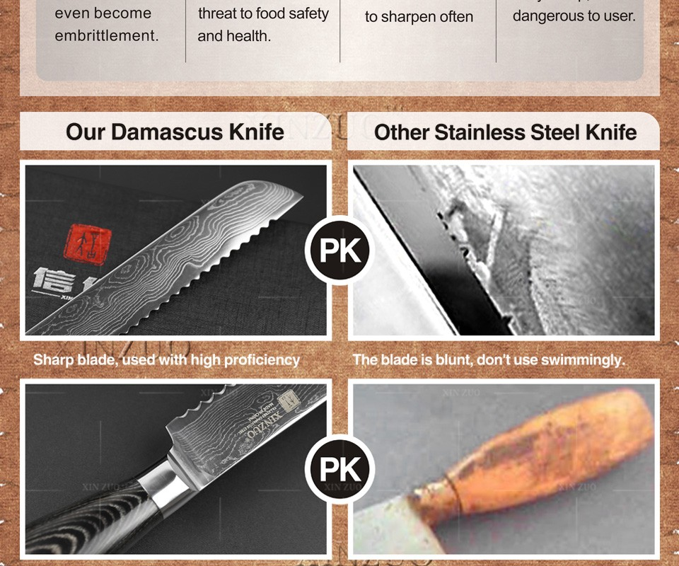 "Buy 8"" inch bread knife 73 layers Damascus kitchen knife high quality Japanese VG10 cake knife with Color wood handle free shipping cheap"