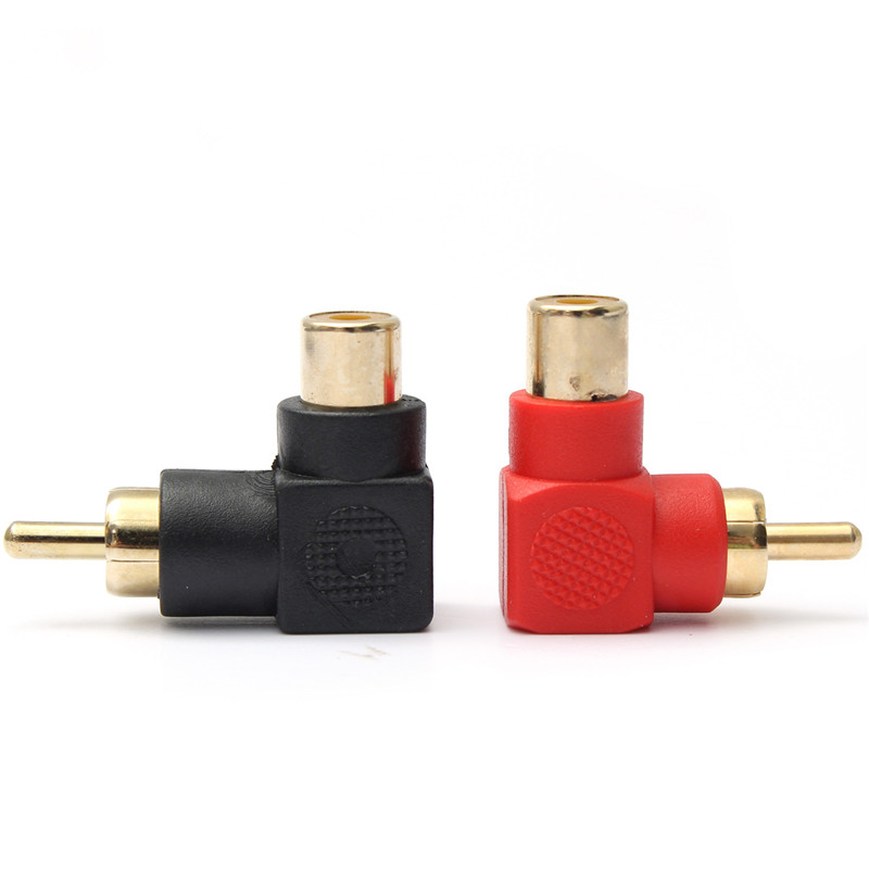 Best Promotion 2Pcs RCA Right Angle Connector Plug Adapters Male To Female M/F 90 Degree Elbow Lowest Price