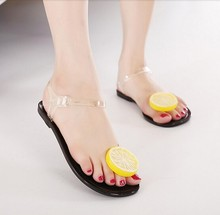 hot selling 2015 new summer black and white girls jelly sandals female lemon flower flat heel flip-flop womens beach shoes(China (Mainland))