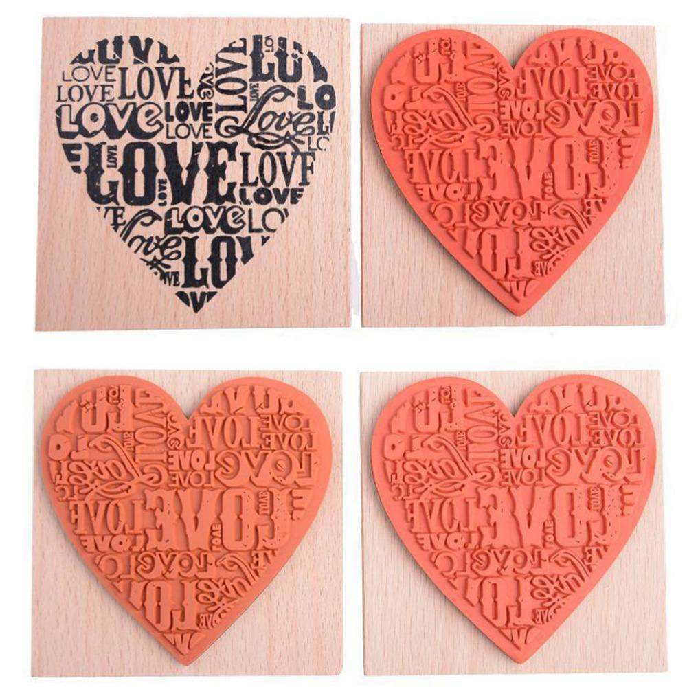 New Heart Shape Blocks Wood DIY Stamp Fashion Craft School Scrapbooking Decor Wooden Rubber Craved Printing Stamp(China (Mainland))