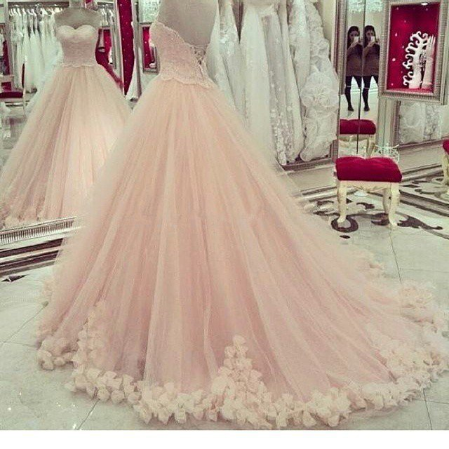 Soft tulle ball gown sweetheart lace bodice rosettes pink for Soft pink wedding dress