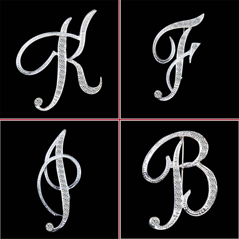 New design of high quality crystal 26 letters brooch fashion temperament clothing accessories for women(China (Mainland))