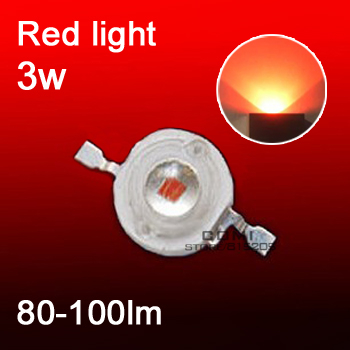 led grow light red LED emitting diode led beads 3w 80-100 lm plant growth light lamp high flux 620-623nm hot sale free shipping(China (Mainland))