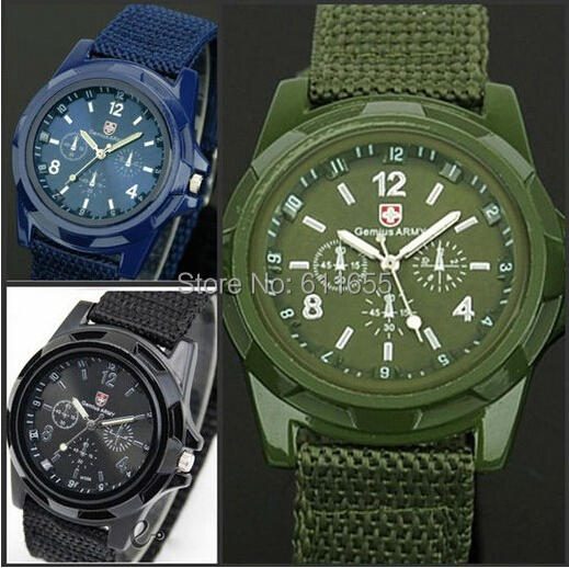 Solider Military Army Mens watch 1pcs/lot Sport Style Canvas Fabric Strap Belt man Quartz WristWatch 4 Colors steampunk vintage(China (Mainland))