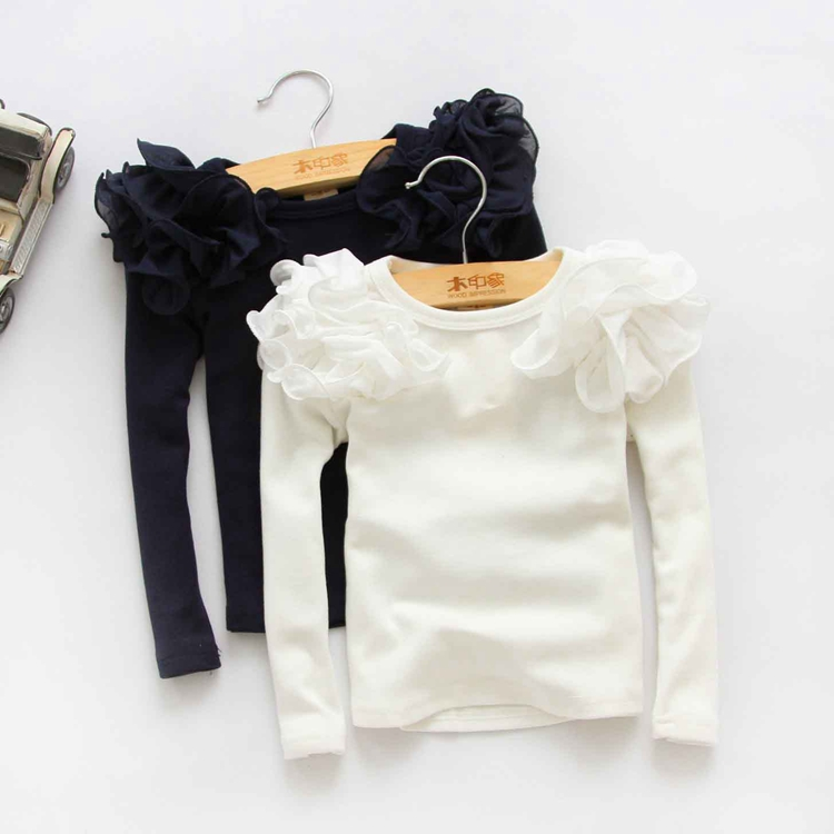 2016 Spring Fashion New Baby Girls Clothing Cute Lace Long Floral Sleeve Blouse Ruffle Blouse Tops(China (Mainland))