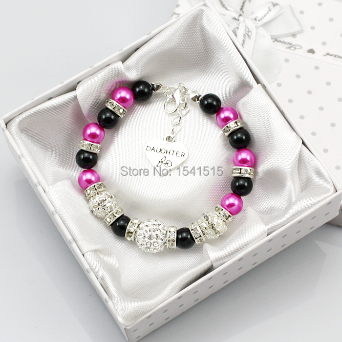 Personalised black Girl Wedding Gift Charm Bracelet Daughter Heart With Box(China (Mainland))