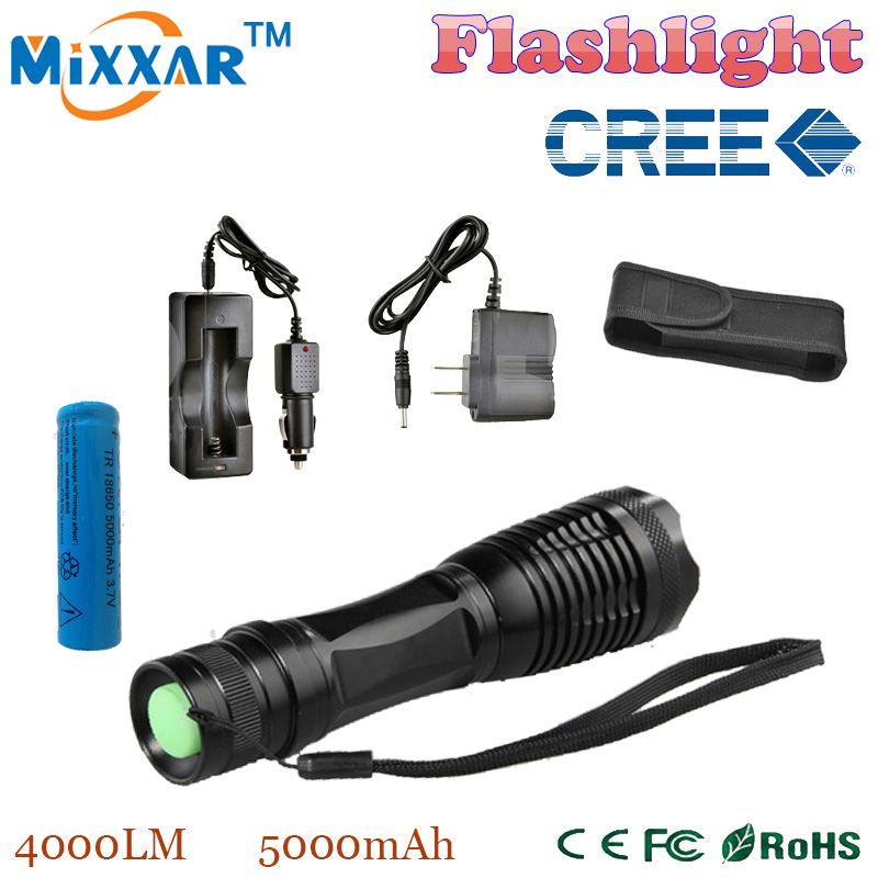 RUZK5 LED flashlight torch XML-T6 4000 LM Focus lamp Zoomable LED Torch + DC/Car Charger + 1*18650 5000mAh battery + Holster(China (Mainland))