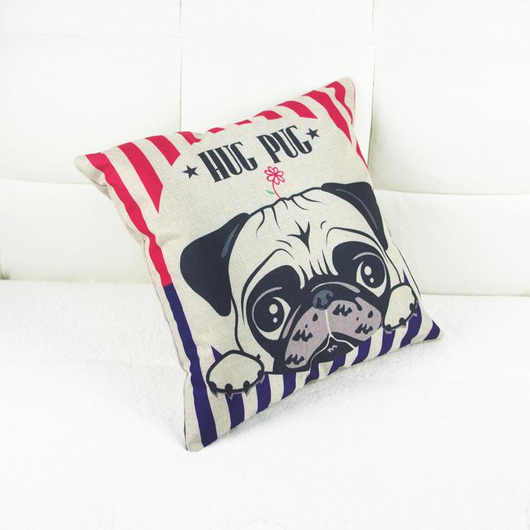 Hot Sale45X45CM Decorative Pillow Covers Lovely Cartoon Dog Linen Pillow Case Christmas Decorative Linen kids gift