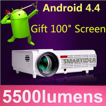 Best LED Home Cinema Android 4.4 WiFi Projector with 5500lumens Brightness Smart Multimedia LCD Video Games HDMI D-TV Proyector(China (Mainland))