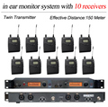 10 Pack Receivers Wireless In Ear Monitor System Professional for 10 Musician in Church Big Stage