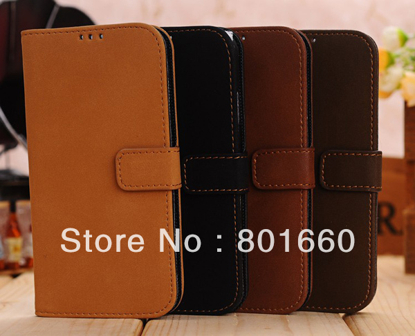 4 Colors Choice Retro Style PU Leather With Card Slot Flip Stand Cover Case For Samsung Galaxy S IV S4 I9500