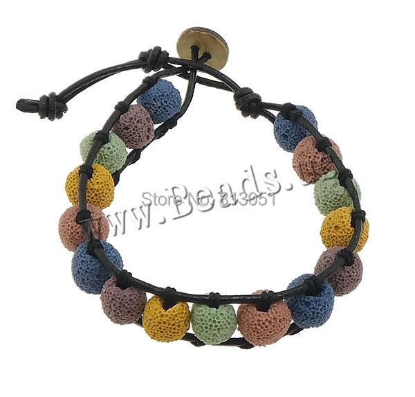 Free shipping!!!Lava Wrap Bracelet,2014 Brand, with Wax Cord &amp; Wood, multi-colored, 9mm, Length:Approx 7 Inch, 30Strands/Lot<br>