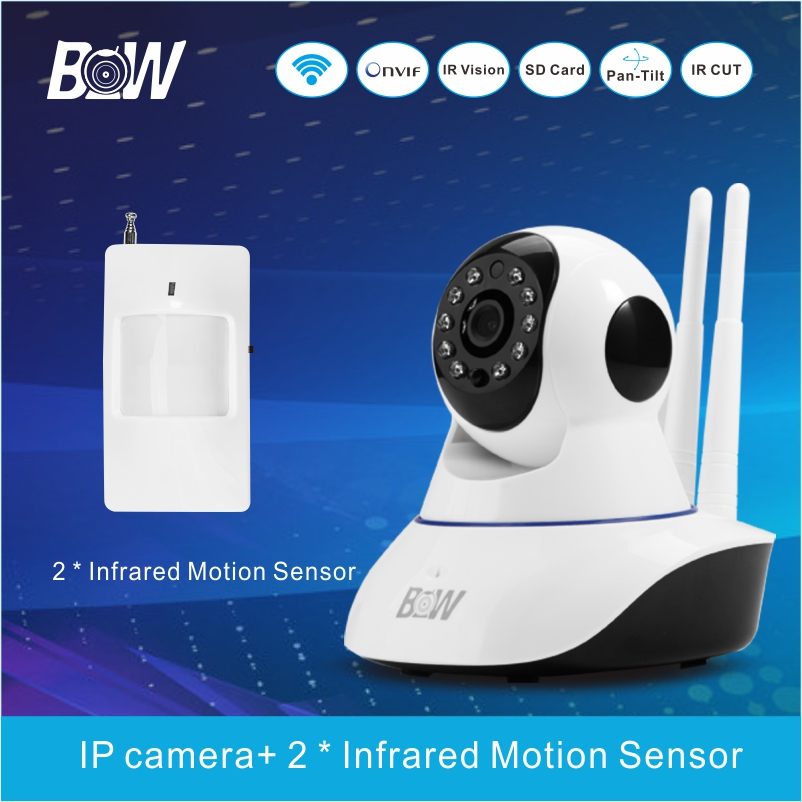 BW02D hot Night Vision P2P with Alarm security monitoring equipment SET CCTV/ IP camera+ 2 Infrared Motion Sensor<br><br>Aliexpress