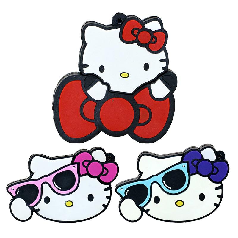 New Cartoon Usb Flash Drive 4gb 8gb 16gb 32gb Pendrive Hello Kitty Bowknot Pen Drive Free Shipping Memory Stick Real Capacity(China (Mainland))