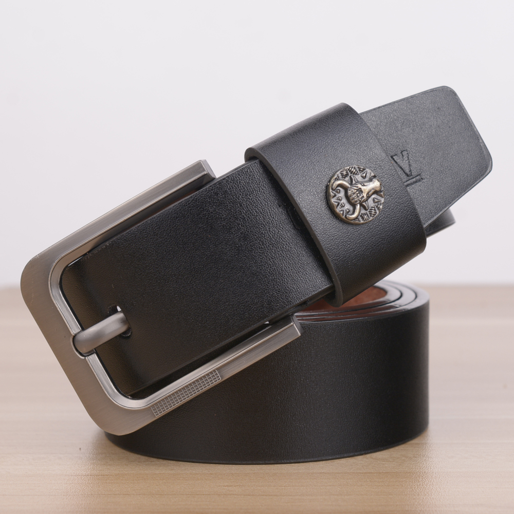 [TG] Hot Men's Belt Fashion New Metal Buckle Cowskin Faux Leather Waistband Vintage Classic Pin Buckle Fabric Belts For Men(China (Mainland))
