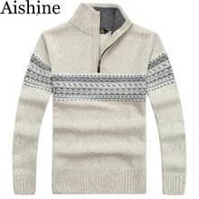 YXS-M19 Sweater Men 2016 New Winter Fashion Mens Cashmere Sweater Coat Thick Zipper Casual Sweater Stand Collar Printing Clothes(China (Mainland))