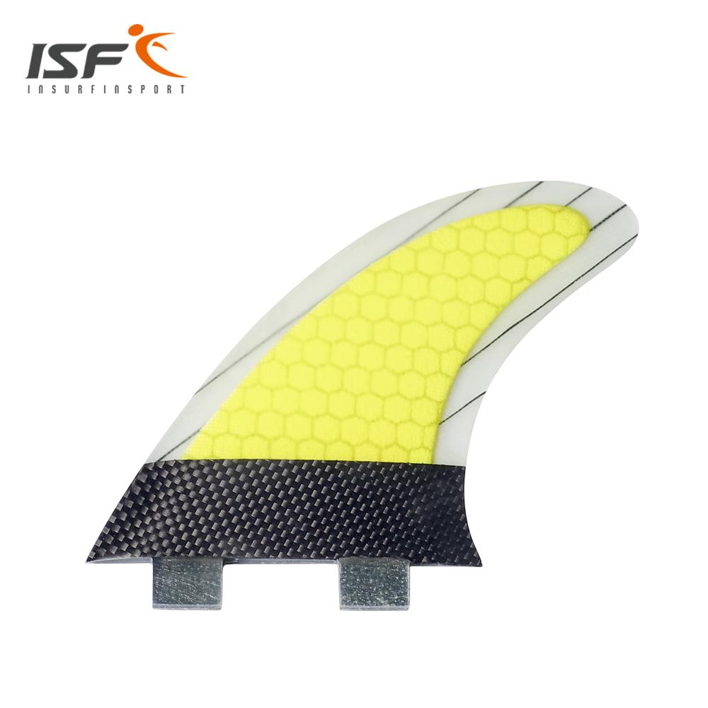 High Quality Thruster fin Set (3) FCS Fiberglass Carbon Yellow strip Surf Fin fcs G7(China (Mainland))