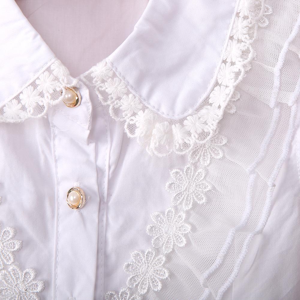 Girls White Blouse Lace School Girl Blouse For Girls Sleeveless  Shirts Spring & Autumn Fashion Shirt Kids Clothes