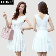 Summer 2014 Korean Style Casual Chiffon Women Dress Vest Party Dresses V-Neck Mini Slim Dress Women Clothing Free Shipping  H355
