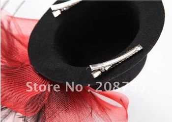 {Christmas gift} New BLACK hen party Veil n Feather fascinator MINI Hat