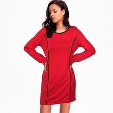 2017 Women Autumn Dress Plus Size O Neck Bodycon Long Sleeve Dresses Ladies Long Sleeve Maxi Dresses(China (Mainland))