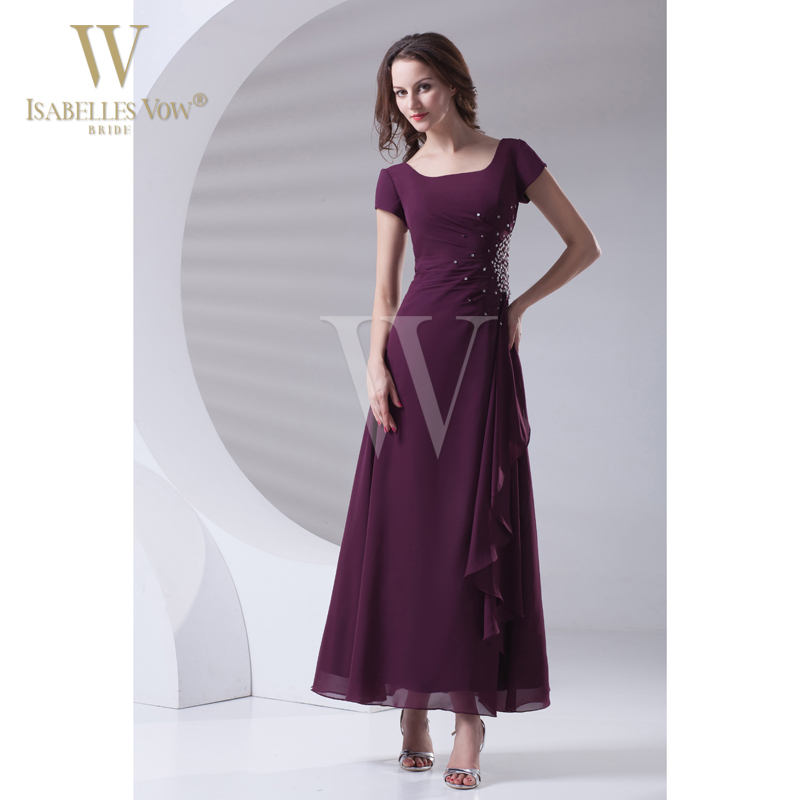 Summer style simple mother of the bride dresses grape for Simple ankle length wedding dresses