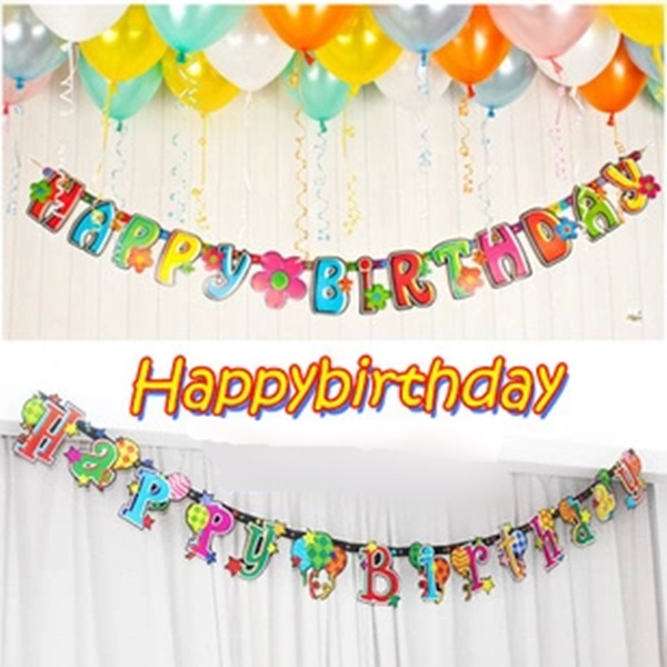 Happy Birthday Banner 6 favors Paper Letters Hanging Banners Party Celebration decoration For Children(China (Mainland))