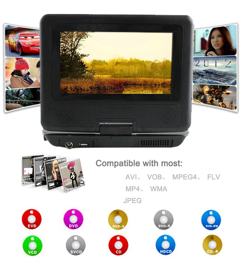 2016 new EU BLACK Newest 9 inch Portable DVD EVD Player TV VCD CD MP3/4 SD USB GAME Mobile TV free shipping(China (Mainland))