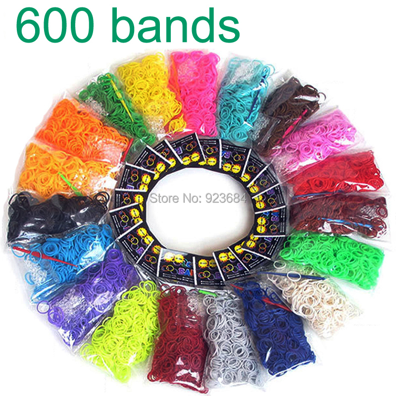 6bags/lot 600pcs Package Rubber Loom Band Set Candy Colorful Loom Bands Children DIY Bracelet Opp Bag (LB-01)(China (Mainland))